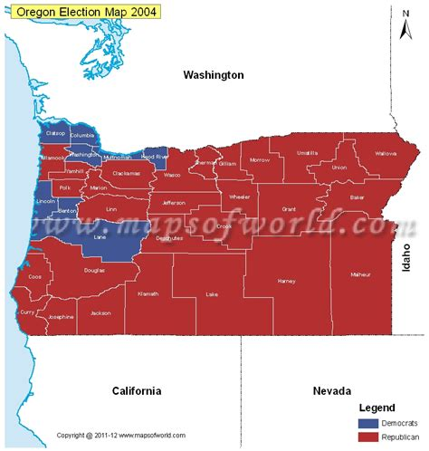 a political map of oregon oregon election results map 2004 vs 2008 us election