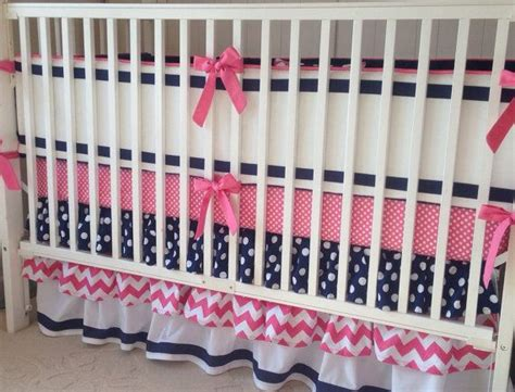 navy and pink crib bedding preppy pink navy and white ruffled crib bedding set