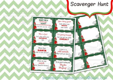 printable elf on the shelf scavenger hunt elf scavenger hunt clue cards elf on the shelf idea diy