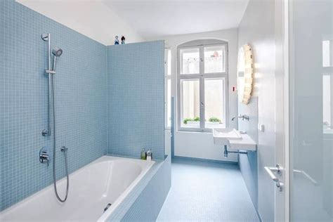 light blue tiles bathroom live here eat that peaches and cream this little