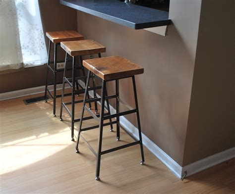 counter height kitchen island in reclaimed wood 27 reclaimed wood and steel industrial shop stool made in