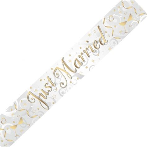 Wedding Banner Just Married by Just Married Holographic Foil Banner Balloons Co Uk