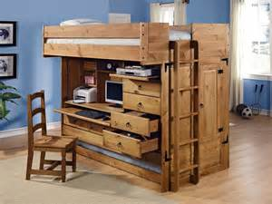 solid wood size loft bed with desk and compact