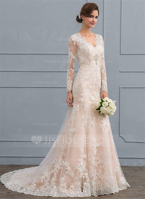 Trumpet/Mermaid V neck Court Train Tulle Lace Wedding Dress (002118440)   Wedding Dresses   JJsHouse