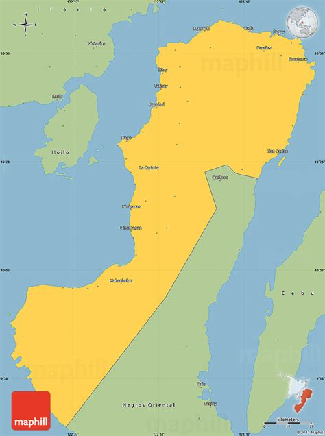 negros occidental map savanna style simple map of negros occidental