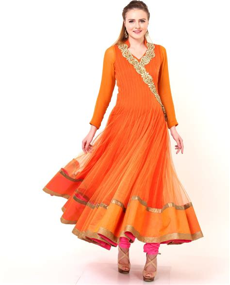 dress design in white colour fancy wedding party wear orange color anarkali frocks