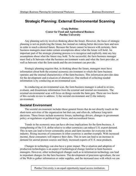 strategic planning external environmental scanning