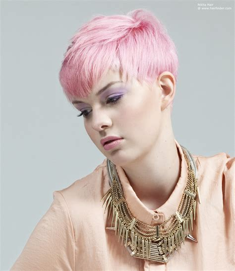 short curly hairstyles above the ear pink above the ears short hair with a dip in the bangs