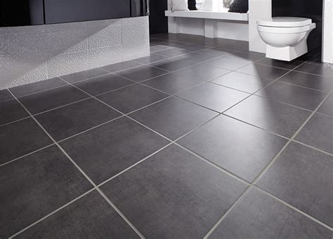 simple black bathroom floor tile