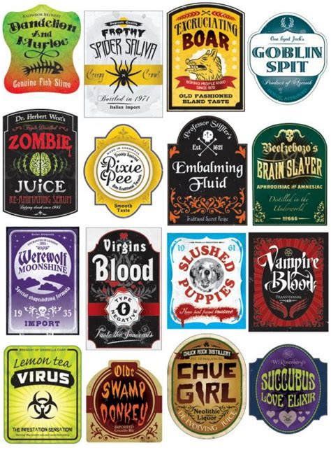 printable drink labels poisions and potions on pinterest halloween labels