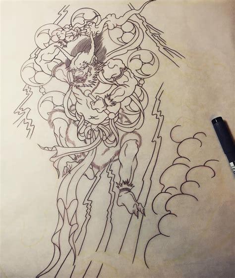 tattoo japanese stencils wip raijin tattoo stencil