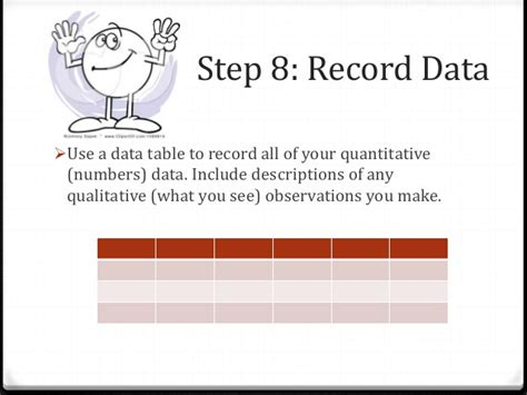how to make a data table for science science fair steps