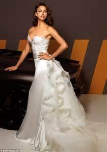 irina shayk models wedding dresses as rumour has it
