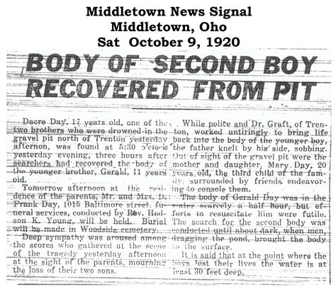 Middletown Ohio Records Obits Day
