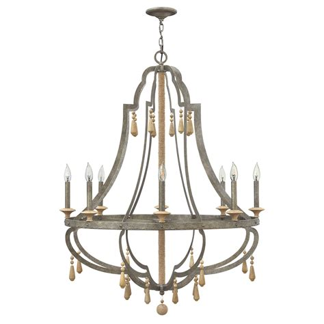 Fredrick Ramond Cordoba Distressed Iron 36 Inch Eight Distressed Chandeliers