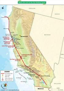 san andreas california map san andreas fault line forms the boundary between
