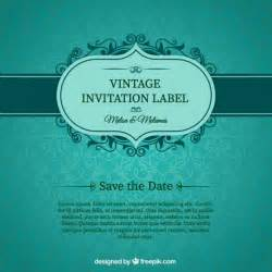 green wedding invitation card vector free