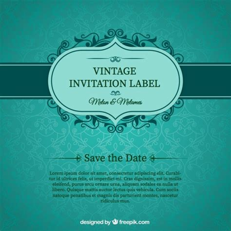free vector invitation card template green wedding invitation card vector free