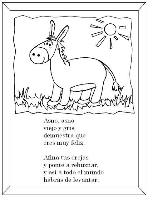 versos para dibujar el asno rima infantil dibujo para colorear rimas rimas infantiles colorear
