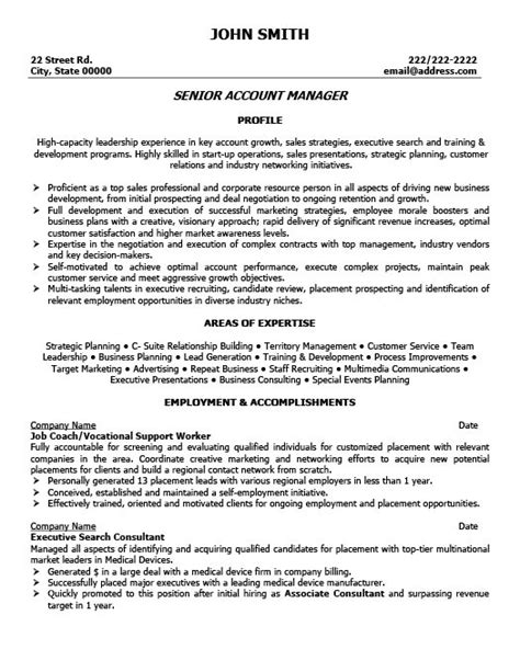 senior executive resume sle sle resume for account manager 28 images manager