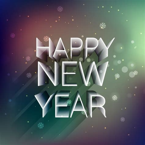 3d happy new year on bokeh background vector free download