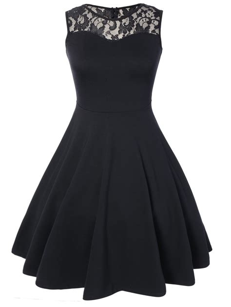 sleeveless lace   party swing skater dress