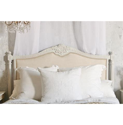 headboard in french louis xvi french country natural linen upholstered