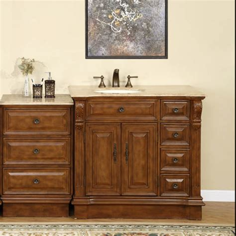 58 inch traditional single bathroom vanity with travertine