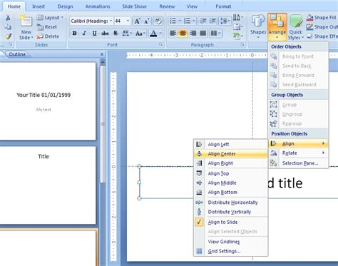 tutorial microsoft powerpoint distribute objects objects 171 wordart picture clip art