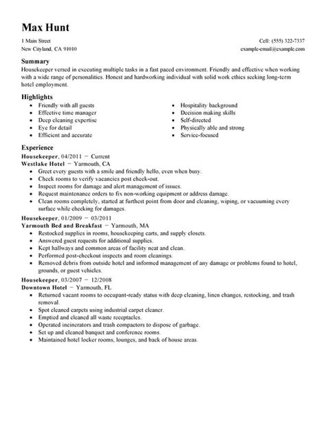 resume format for housekeeping supervisor best template