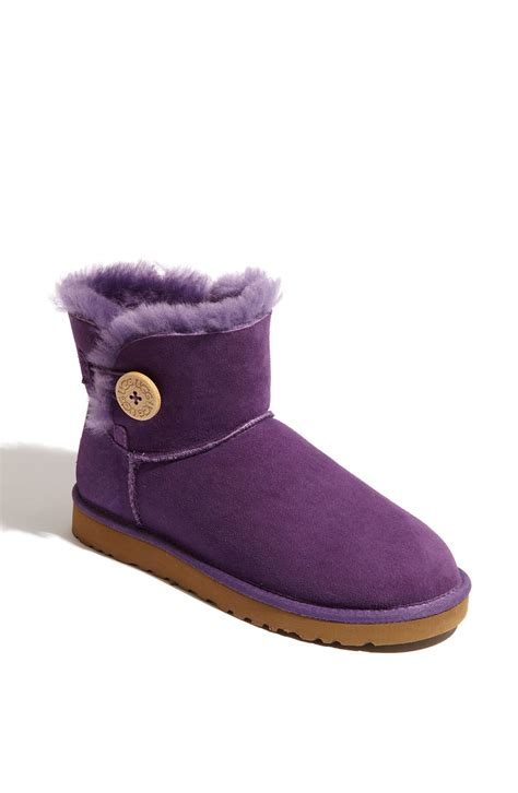purple ugg boots ugg mini bailey button boot in purple lyst