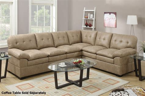 sectional sofas fabric poundex tyson f7684 brown fabric sectional sofa steal a