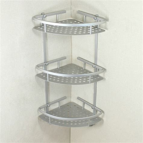 Bathroom Racks And Shelves Three Layer Wall Mounted Bathroom Rack Towel Washing Shower Basket Bar Shelf Bathroom