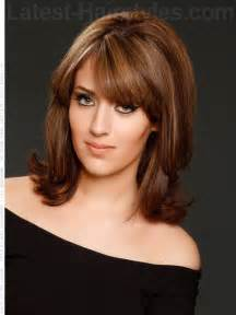 shoulder hairstyles with volume layered long bob hairstyles with bangs best haircut style