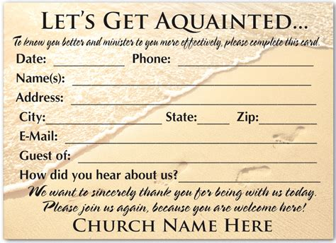 Church Information Card Template by Welcome Visitor Cards Ministry Greetings Christian