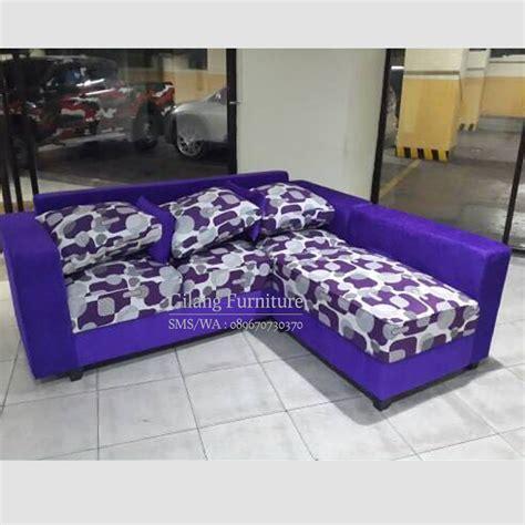 Sofa L Minimalis Baru jual sofa l minimalis murah motif ungu gilang furniture