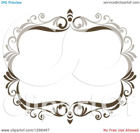 clipart of a vintage brown swirl floral wedding frame 2