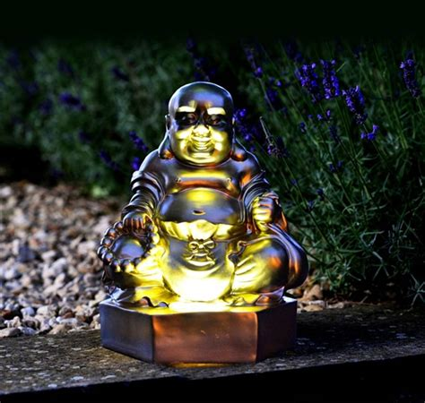 Buddha Solar Light Golden Buddha Figurine Solar Light By Garden Selections