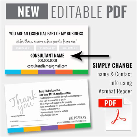 editable pdf business card template editable pdf pc perks referral card instant