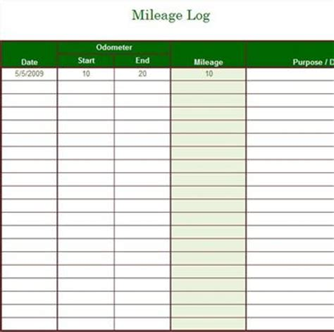 mileage log templates mileage log