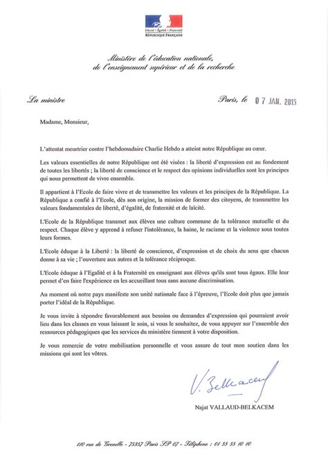 Exemple De Lettre Administrative Education Nationale Lettre De La Madame La Ministre De L 233 Ducation Nationale Suite Aux Attentats Du 7 Janvier 2015