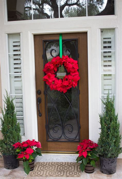 poinsettia on porch 15 sensational front door decor with lovely poinsettias
