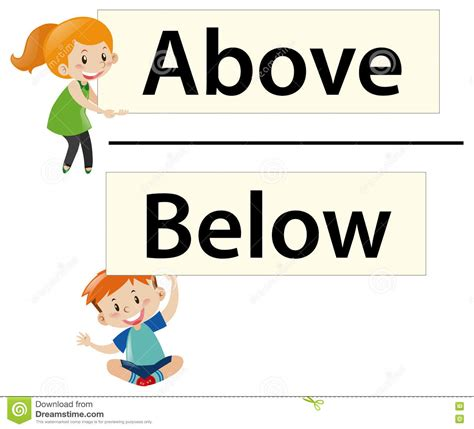 above and below kids holding wordcards above and below stock vector image 78348670