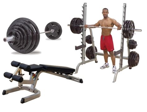 300 lb weight set and bench body solid multi press rack with fid bench and 300 lb olympic set
