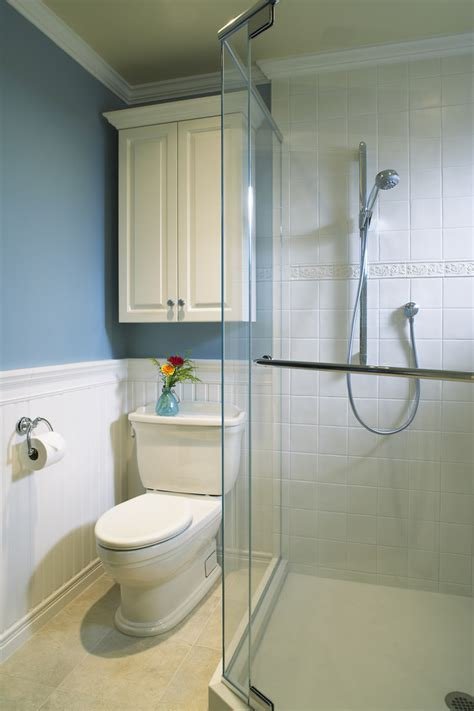 Shower Room Ideas For Small Spaces chic wainscot tile in bathroom traditional with subway