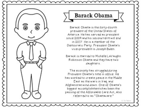barack obama biography fact sheet president barack obama coloring page craft or poster with