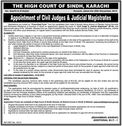 Sindh High Court Search Civil Judge Judicial Magistrate In Sindh High Court Karachi 2013 January In