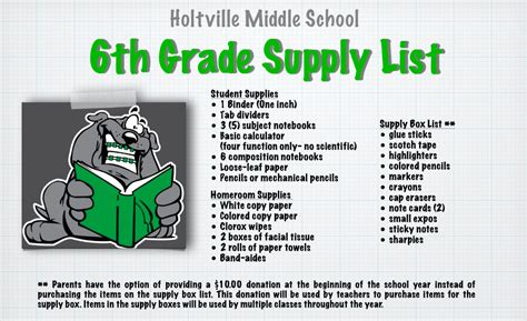 middle school supplies school supplies list for middle school 6th grade