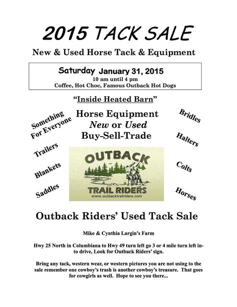 Horse Tack Giveaway 2017 - outback trail riders tack sale 2015 southern horse talk