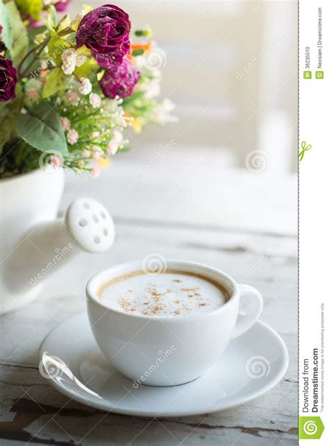 Cup Of Coffee With Flowers Stock Photo   Image: 36235510